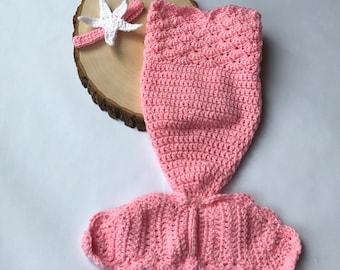Newborn mermaid outfit-baby photo prop-crochet mermaid tail-newborn crochet outfit-ready to ship