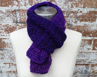 Hand Made Purple Scarf, Hand Crocheted Scarf, Purple Knit Scarf, Unique Scarf, Winter Scarf
