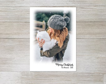 Custom christmas card, Merry Christmas, photo card, holiday card, simple, classic, printable, print at home, digital