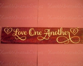 "Rustic Wooden Inspirational Sign ""Love One Another"", 12"" long x 2"" wide for weddings, home decor"