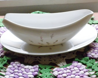 Vintage Petite Bouquet Japan Gravy Bowl with Saucer Tray 1960's