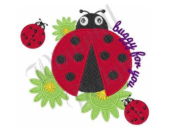 Lady Bug Buggy For You - Machine Embroidery Design