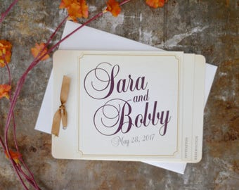 Wedding Gold & Burgandy Classic 5x7 Livert Invitation with A8 envelope // Elegant Wedding Invitation - BP1
