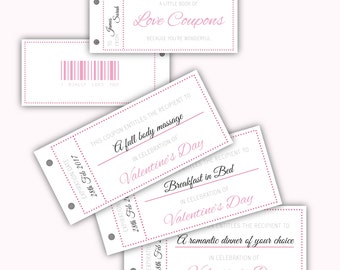 Printable Love Coupons, Valentines coupons, voucher, Valentine's Day, for Him or Her, Blank for your own message, Instant download