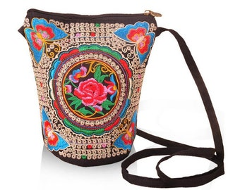 Cross Body Embroidered Floral & Butterfly Bag BA5006n