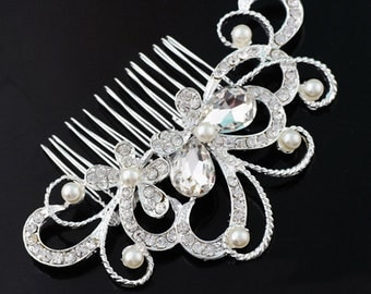 Classic Luxury Crystal Butterfly Bridal Hair Comb BH1029i