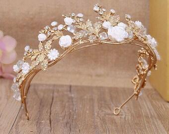 Savannah Vintage Style Baroque Handmade Gold Flower Leaf & Vine Tiara Crown