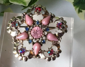 A Beautiful Vintage Multi Stone Brooch with Pink, Blue and Aurora Borealis
