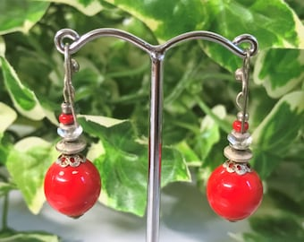 A Lovely Pair of Vintage Red Bead Drop Earrings - Pierced