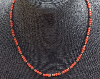 Beautiful Tiny Coral Bead Necklace with Hallmarked Silver Clasp.