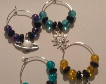 Beautiful Glass Beaded Wine Glass Stem Charms Set of 4  Celestial Themed