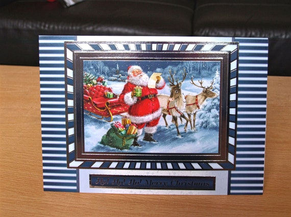 Reindeer & Santa Christmas Card Handmade - luxury personalised unique quality father christmas UK