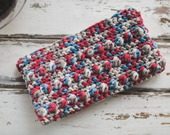 Lined Crochet Clutch--Nautical Variegate--