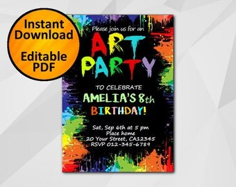 SALE 60% OFF-Instant Download Art Birthday Invitation Art Party Editable diy invitation C030