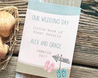 Destination beach wedding invitation : flip flops and sand
