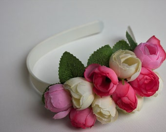 Headband, flower headband, bridal headband, bridesmaids headband, wedding headband, flower girl headband