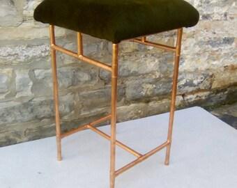 Retro copper and velvet stool