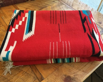 Chimayo blanket, wall hanging, or rug, red with black detail