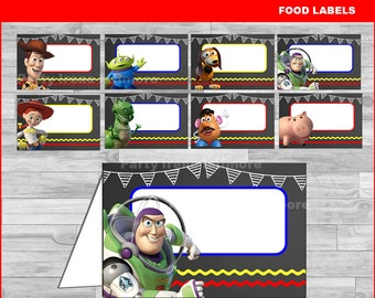 Toy Story food labels Instant download, Toy Story Chalkboard food tent cards, Toy Story party food labels