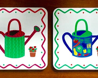 One Set of Four Colorful SUMMER GARDEN COASTERS with Sprinkling Cans