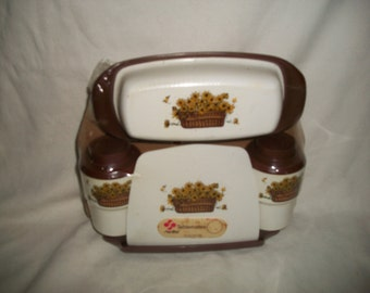 Vintage Sterilite Tablemates Napkin Holder, Butter, Salt/Pepper Set New in Package