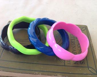 Set of Vintage Plastic Bracelets