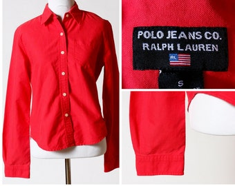 Vintage Polo Jeans Shirt Women's  - 90s Ralph Lauren Small S