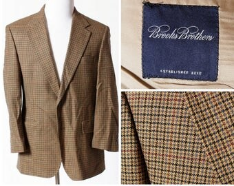 Vintage Men's Brooks Brothers Sport Suit Jacket Wool Blazer Lambswool Houndstooth - 40R 41R 40 Regular