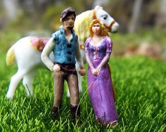 Reserved for Marena Garcia! Tangled Terrarium Figurines - Rapunzel, Flynn Rider (Eugene), and Maximus