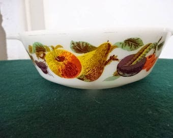 "JAJ Pyrex "" Kent Orchard"" Casserole Dish/Small/Vintage/1960s"