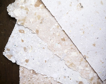 handmade paper 6 x A5 sheets | recycled paper | eco friendly | wedding stationery | letterpress | craft | card making | stamping | notes