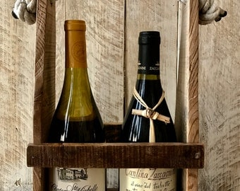 Wine Caddy, Wine Gift, Wine Lover, Wine Enthusiast, Rustic Gift, Christmas Gift for Her, Christmas Gift for Him, Bridesmaid Gift