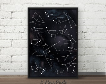 Instant Download - Galaxy Constellation Chart Art Print, Green Nebula