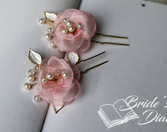 2pcs Bridal hair pins, pearl hair pins, golden color hair pins with pink flowers