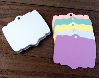 Ornate Shaped Wedding Favor Tags Cardstock Gift Tags Placecards Labels 30 Blank Elegant Rectangle Paper Tags - Choose Color & Style
