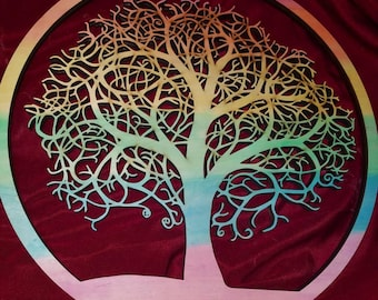 Tree of Life Wooden Wall Hanging! - Rainbow