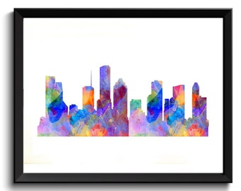 Houston Cityscape, Houston Watercolor Art - Printable Houston Art, TX Artwork, Texas Art, Blue/Orange Art, Houston Painting, Digital TX Art