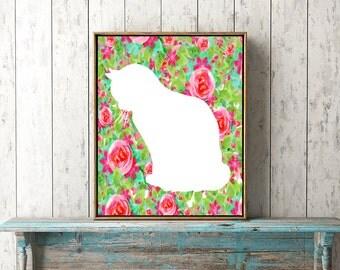 Kitty Floral Art - Kitten Artwork, Pink Cat Art, Pink Kitten Poster, Roses and Cats, Cat Flower Download, Printable Cat Art, Cat Wall Decor