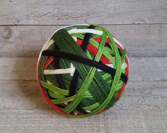 Hand Dyed Self Striping Sock Yarn ~ ~ The Christmas Grouch ~ Dark green, light green, red, black white striped yarn