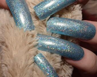 Holographic Blue Nails | Long Nails | Fake Nails | Full Cover | False Nails | Nail Designs | Press On Nails | Holographic Powder