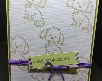 New Baby Card, Cute Handmade Card, Puppy, Lavender Baby Card, Welcome New Puppy Card, Stampin' Up! Designs
