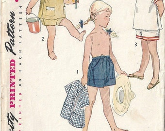 1952 Childrens Vintage Sewing Pattern S5 B23.5 BEACH SHIRT SHORTS Unisex  (C24)