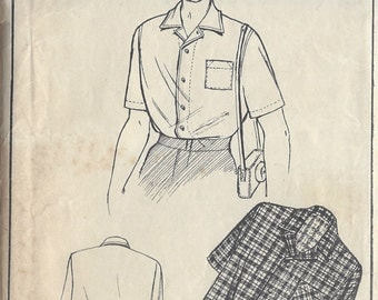 1940s Vintage Sewing Pattern MEN'S SHIRT S40 (R642) Style 157
