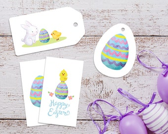 Easter labels, Easter gift tags, Easter egg print, easter card, DIY easter, easter printable, printable easter, easter prints, baby chick,