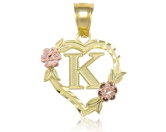 10K Solid Yellow Rose Gold Heart Initial Letter Pendant - A-Z Any Alphabet Flower Necklace Charm