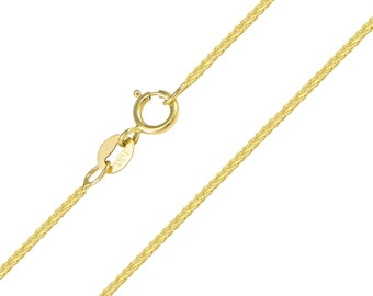 """14K Solid Yellow Gold Foxtail Necklace Chain 1.0mm 16-20"""" - Link"""