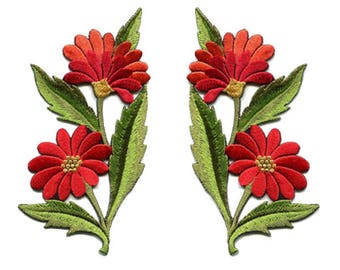 A Pair Of Beautiful Red Daisy Flower Bouquet Iron On Patches Sew On Appliques