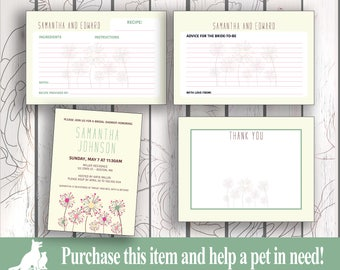 Bridal Shower Invitation Kit, Bridal Shower Invitation, Recipe Card, Advice Card, Thank You Card, Wedding Shower Kit - Dandelions