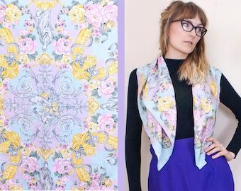 Vintage Pastel Scarf, Silky Scarf, Roman Vintage, 1980s, Pastel Vintage, Cherub, Headscarf, Pastel Floral, Lilac Scarf, Rose Scarf, Pinup,
