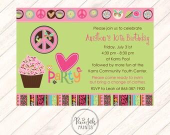 Cupcake Birthday Invitation, Peace Invitation, Cupcake Invitation, Cupcake Party Birthday Invitation, Peace Birthday Party Printable